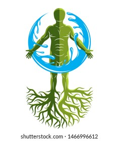 Vector graphic illustration of muscular human, individual created with tree roots and surrounded by a water ball. Body cleansing idea, alternative medicine theme picture.