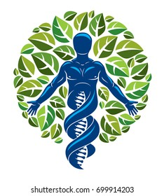 Vector graphic illustration of muscular human depicted as DNA strands continuation and created with ecology tree leaves. Green thinking technology innovations, ecology conservation concept.