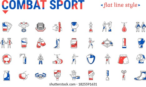 Vector graphic illustration on a white background. Concept icon in linear design. Combat sports. Martial arts and training equipment. Symbol, sign, logo, emblem.