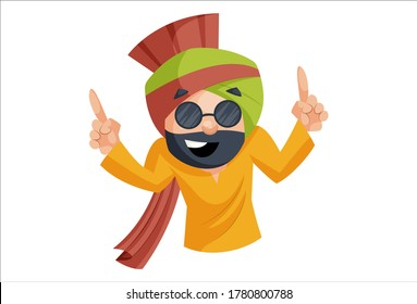 Vector graphic illustration. Punjabi man is dancing and wearing glasses. Individually on a white background.