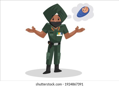 Vector graphic illustration. Punjabi soldier is thinking about his newborn baby. Individually on a white background.