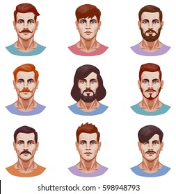 vector graphic illustration of a set of male portraits, with different types of hairstyles and beards. front view