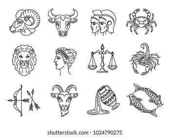 vector graphic illustration - set of twelve zodiac signs - Aries, Taurus, Gemini, Cancer, Leo, Virgo, Libra, Scorpio, Sagittarius, Capricorn, Aquarius, Pisces - drawn by line.