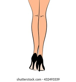 Vector graphic illustration silhouette of female legs on white background in high heel black classic stiletto shoes/ eps 10