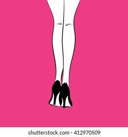 Vector graphic illustration silhouette of white female legs on pink background in high heel black classic stiletto shoes / eps 10