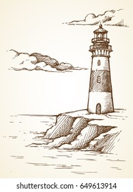Vector graphic illustration. Sketch landscape of the sea and a lighthouse.