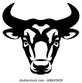 vector graphic illustration of a stylized bull's head. front view