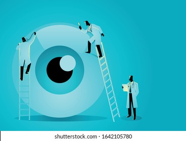 Vector graphic illustration of team of doctors diagnose human eye. Ophthalmologist