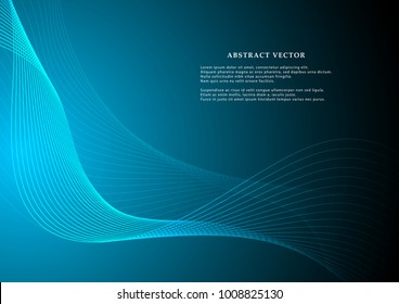 Vector graphic illustration template for use in the projects business, science, education and technology. Curvy lines pattern pattern on bright background