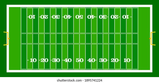 vector graphic illustration top view of standard yard size layout empty american football sport field with green grass and copy space. Team sports recreation background