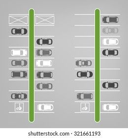 Vector graphic illustration of a top view car abstract parking lot scheme. Editable automotive collection in a flat simple style.