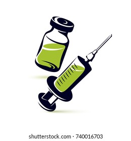 Vector graphic illustration of vial and medical syringe for injections. Children scheduled vaccination theme