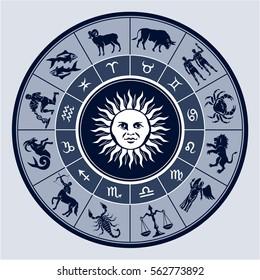 Vector graphic illustration of Zodiac circle with horoscope signs. Astrological symbols:  Aries; Taurus; Gemini; Cancer; Leo; Virgo; Libra; Scorpio; Sagittarius; Capricorn; Aquarius and Pisces.