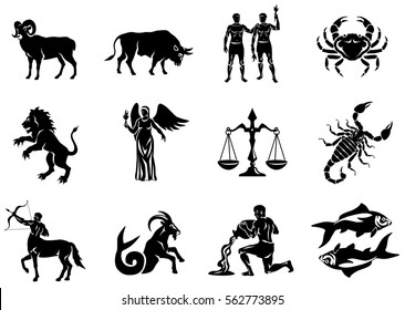 Vector graphic illustration of zodiac signs.  All zodiac signs in silhouettes concept:  Aries; Taurus; Gemini; Cancer; Leo; Virgo; Libra; Scorpio; Sagittarius; Capricorn; Aquarius and Pisces.