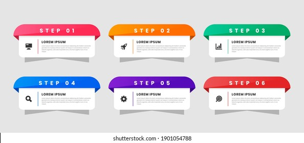 Vector Graphic of Infographic Element Design Templates with Icons and 6 Options or Steps. Suitable for Process Diagram, Presentations, Workflow Layout, Banner, Flow Chart, Infographic.