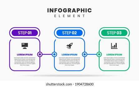 Vector Graphic of Infographic Element Design Templates with Icons and 3 Options or Steps. Suitable for Process Diagram, Presentations, Workflow Layout, Banner, Flow Chart, Infographic.