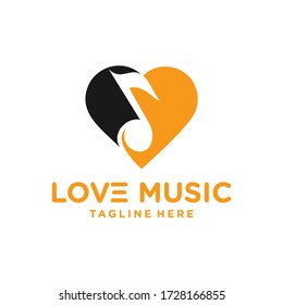 vector graphic logo combination of musical notes and heart