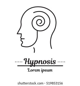 Vector graphic logo, icon. Hypnosis and hypnotherapy. a man in a trance.Clinic logo, psychology disease. Concept psychological help. Linear, flat, contour, thin. app, template, infographic. Symbol.