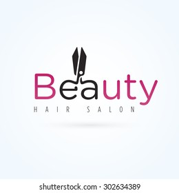 Vector graphic manicure scissors symbol with sample text for your company