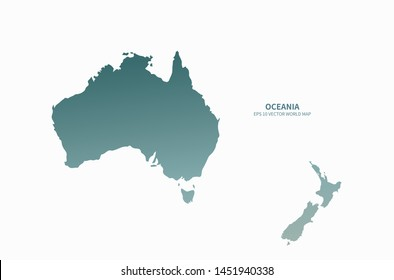 vector graphic map of oceania countries
