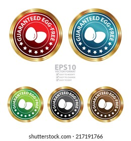 Vector : Graphic for Marketing Campaign, Product Information or Product Ingredient Concept Present By Circle Metallic Style Egg Free Icon, Badge, Label, Stamp or Sticker Isolated on White Background