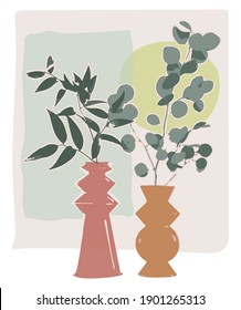 vector graphic of a mediterranean stil life abstract painting, with ceramic vases and plants. Olive tree  and eucalyptus branch
