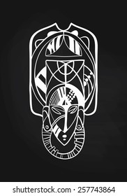 Vector graphic minimal schematic mask / face / aboriginal symbol with sample text
