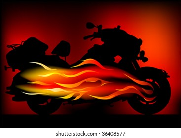 Vector graphic motorcycle on fire. Silhouetted against the flames