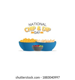 vector graphic of national chip and dip day good for national chip and dip day celebration. flat design. flyer design.flat illustration.