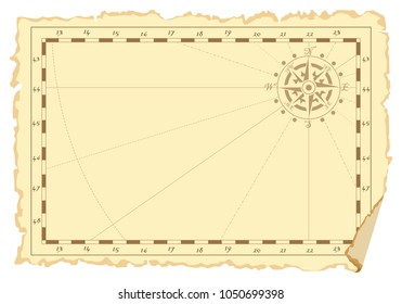 Vector graphic page in form of an old not filled navy chart with place for drawings or records. Concept of pirate card. Suitable for daily records, notes, children's games, thematic children's rooms