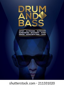Vector graphic party poster with polygon face and sample drum and bass text