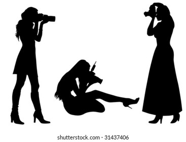 Vector graphic photographer at work. Isolated silhouette on white background