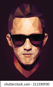 Vector graphic polygon face of cool teen in sunglasses