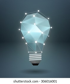 Vector graphic polygonal illustration of a lightbulb with shadow
