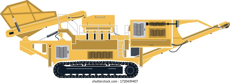 A vector graphic of a portable cone rock crusher