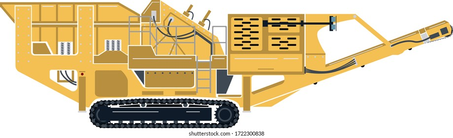 A vector graphic of an portable impact rock crusher on tracks