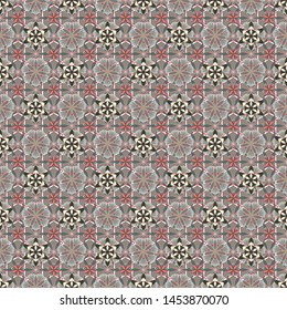 Vector graphic print. Delicate little flowers in beige, green and gray colors. Small floral seamless pattern.