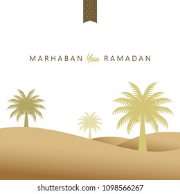 Vector Graphic Ramadan Kareem Greeting Background. desert with date palms. Isolated Background eps 10
