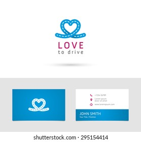 Vector graphic road / heart symbol about driving with sample text for your company