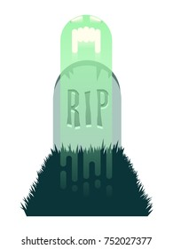 Vector graphic of a screaming ghost rising out of a grave