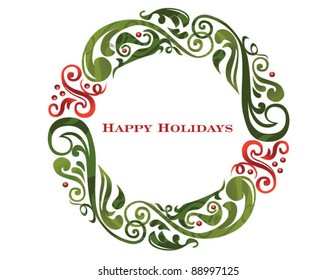 Vector graphic scroll holiday wreath.