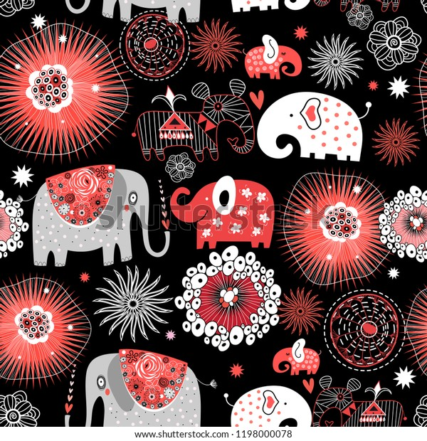 Vector graphic seamless pattern with love elephants among abstract patterns