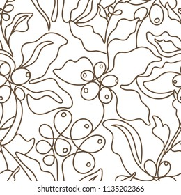 Vector graphic seamless pattern. Nature coffee tree, art line branch, leaves, bean, grain. Abstract hand drawn design, tropic flora on white background, sketch foliage. Retro print, bio packing, cover