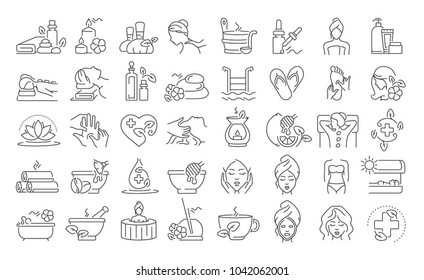 Vector graphic set. 40x40 pixels. Editable stroke size. Icons in flat, contour, outline, thin and linear design. Spa treatments. Simple isolated icons. Concept illustration. Sign, symbol, element.