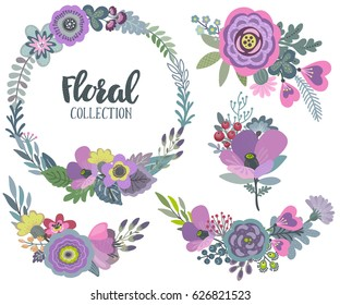 Vector graphic set with beautiful flowers, floral wreath, bouquets. Colorful collection for greeting, Save the Date cards, wedding invitations