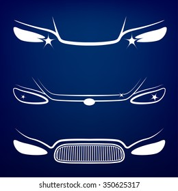 Vector graphic set of car head lights isolated icons. Editable illustration. Automotive collection in white color on a dark blue background.