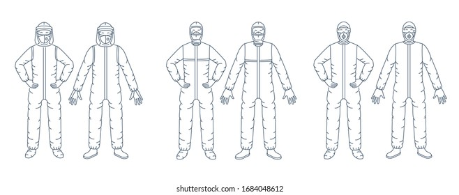 Vector graphic set. Concept scalable, line, outline, linear design. Disposable protective antiviral, antiplague suit, coveralls, overall, unionalls. Respiratory mask. Coronavirus. Symbol, sign.