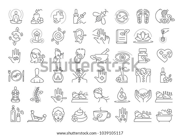 Vector graphic set. Editable outline stroke. 40x40 pixels. Icons in flat, contour, thin and linear design. Alternative medicine. Simple isolated concept Web site illustration. Sign, symbol, element.