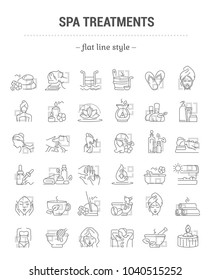 Vector graphic set. Editable stroke size. Icons in flat, contour, outline, thin and linear design. Spa treatments. Simple isolated icons. Concept illustration for Web site. Sign, symbol, element.