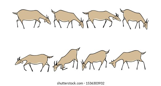 Vector graphic set of hand drawn goat herd grazing on a meadow. Animal border set, cute animal characters.